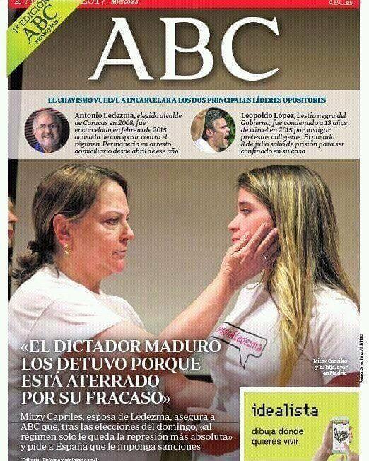 Portada del ABC de España ...pendientes de las últimas noticias y acontecimientos de Venezuela... . #prensa #españa #apoyo #venezuela #actualidad #politica #situaciónvenezuela #abcdeespaña