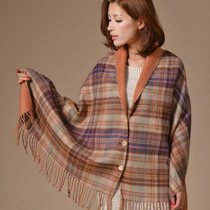Women's Luxury Fashion Reversible Plaid/Solid Print Fringe Accent Pashmina Shawl Scarf 3 Colors