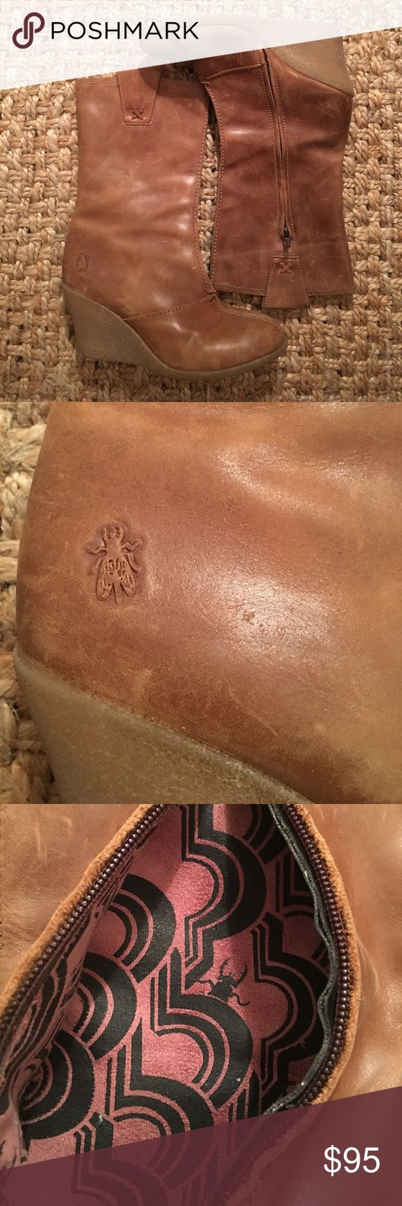 Fly London Tan Wedge Boots Fly London tan zip up wedge boots. gently worn, with lots of life left still in them! Super comfortable! One of my favorite brands! fly london Shoes