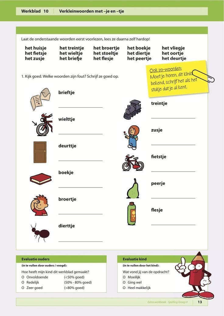 Spelling je en tje verkleinwoorden werkbladen for Werkbladen spelling groep 4