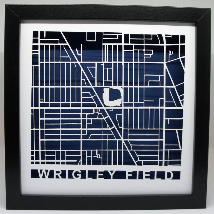 Excited to share the latest addition to my #etsy shop: Wrigley Field cut map - Chicago Cubs -  White and Blue - Chicago