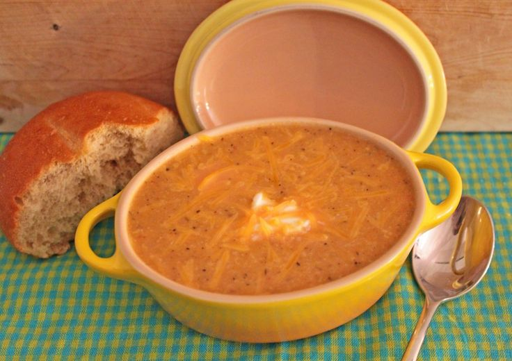 1 head of cauliflower 1 sweet potato, peeled and cubed, 1 onion, diced 1 red bell pepper, chopped 2 cans vegetable broth 1 T garlic powder 1 t savory 1 t basil ½ t cinnamon ½ t red pepper flakes 1 t black pepper 1 t salt, plus more to taste 1½ cup milk 1 cup cheddar cheese Sour cream to garnish, if desired Combine everything except for milk, cheese and green onions in the slow cooker and cook on low for 8 – 10 hours. Add milk, blend until smooth. add cheese. Let cook for another 10 minutes.
