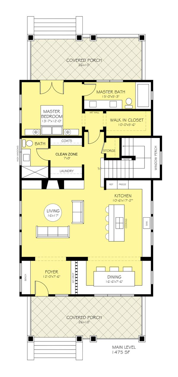 Craftsman Style House Plan - 3 Beds 3 Baths 2206 Sq/Ft Plan #888-10 Floor Plan - Main Floor Plan - Houseplans.com