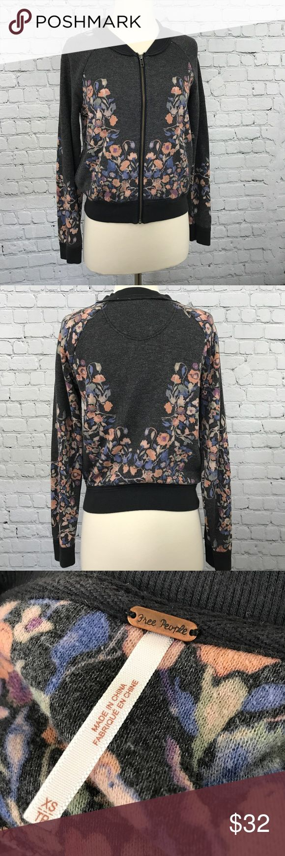 Free People Floral Zip Up Moto Sweater Adorable free People sweater in excellent condition. Size XS. No trades. Reasonable offers only! Free People Sweaters