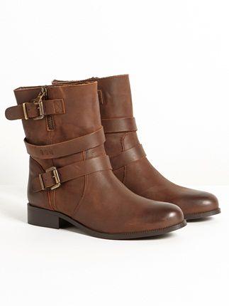 Boots femme cuir lisse motardes, ENFORF - marron