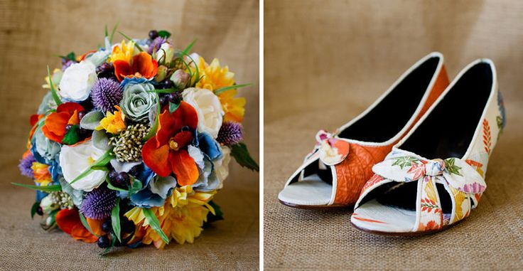 Wonderfully colourful bouquet from Farmyard Flowers and divine custom made wedges from Dames & Divas.