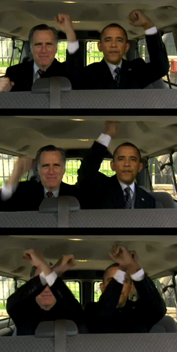 "Haha!  Digital Obama and Romney do the ""Call Me Maybe"" viral dance."