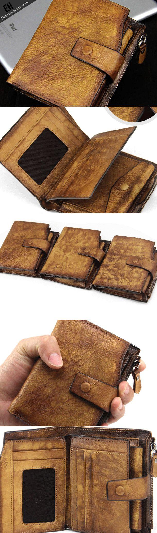 Handmade men short leather wallet men vintage gray brown short wallet for him