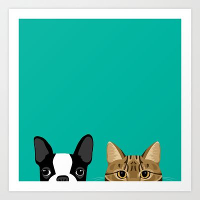 Buy Boston Terrier & Tabby by Anne Was Here as a high quality Art Print. Worldwide shipping available at Society6.com. Just one of millions of products…