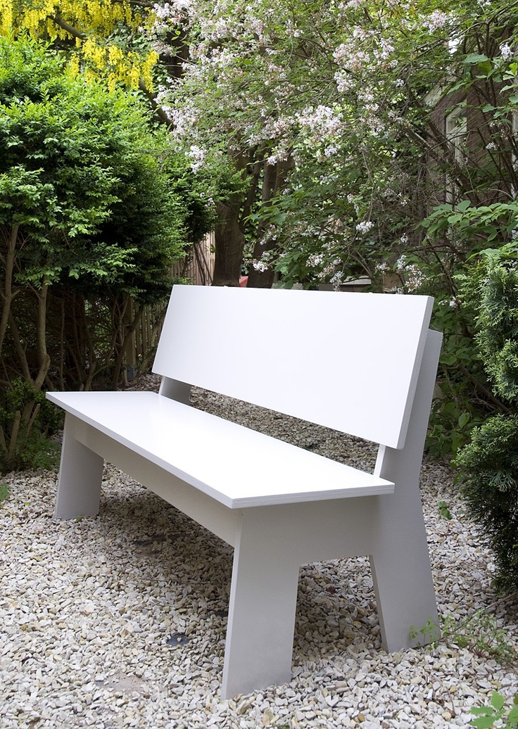 Bench and gravel