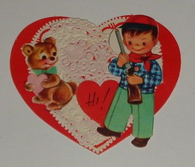 "Vintage 1961 Valentine greeting card, hunter boy and bear, Gibson 4"" used"