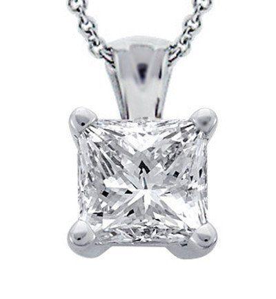 A Perfect 8CT Princess Cut Russian Lab Diamond Solitaire Pendant Necklace