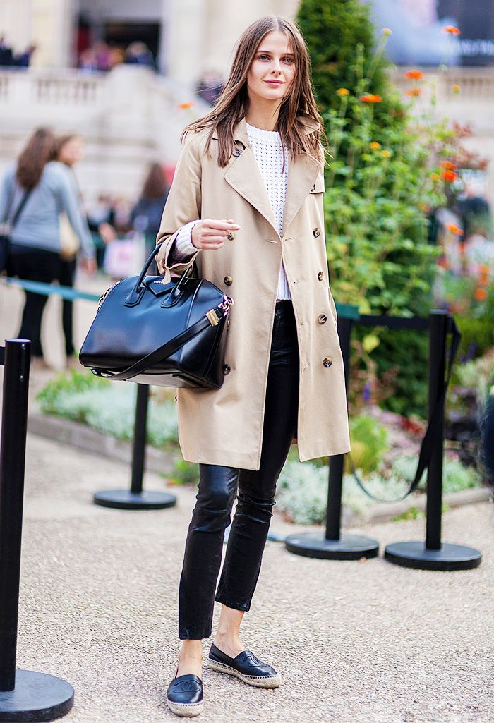 Black leather pants, trench coat, Givenchy bag, leather Chanel espadrilles.