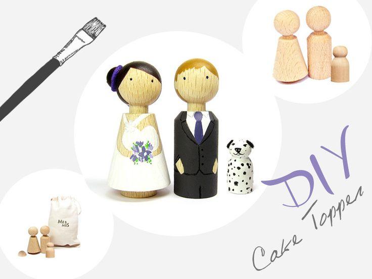DIY Kit Tortenfiguren Brautpaar // DIY kit cake toppers bridal couple via DaWanda.com