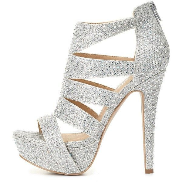 Charlotte Russe Rhinestone & Glitter Caged Platform Heels ($27) ❤ liked on Polyvore featuring shoes, heels, saltos, silver, sparkly shoes, wrap shoes, charlotte russe, high heel stilettos and sexy strappy shoes