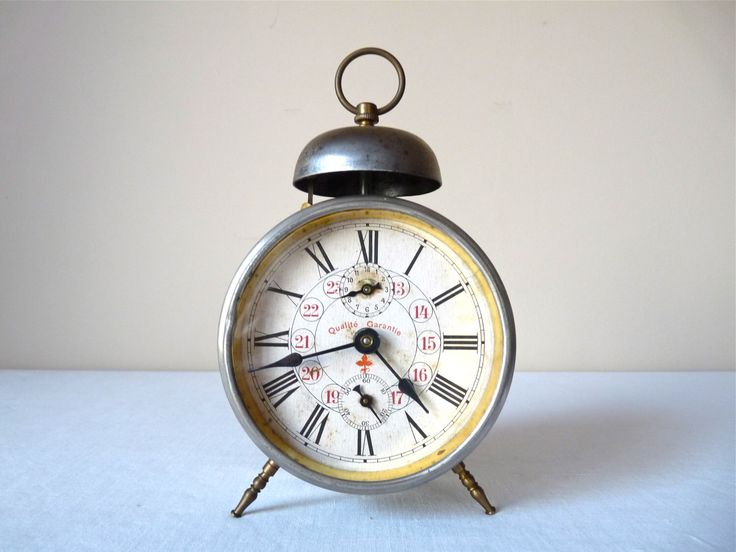 1900  french Antique Alarm Clock , Metal Bell Alarm Clock, French Vintage alarm clock of the 19th  ,Loft Deco, Victorian by myfrenchycottage on Etsy https://www.etsy.com/listing/254407715/1900-french-antique-alarm-clock-metal