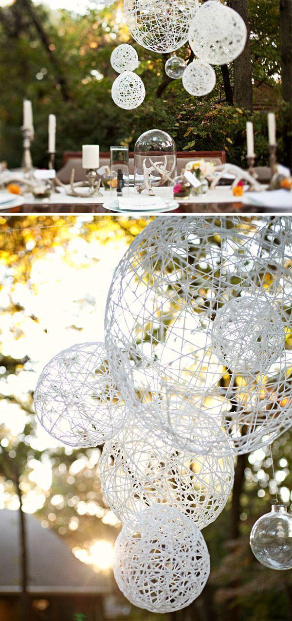 diy twine paper lanterns for outdoor backyard rustic wedding ideas