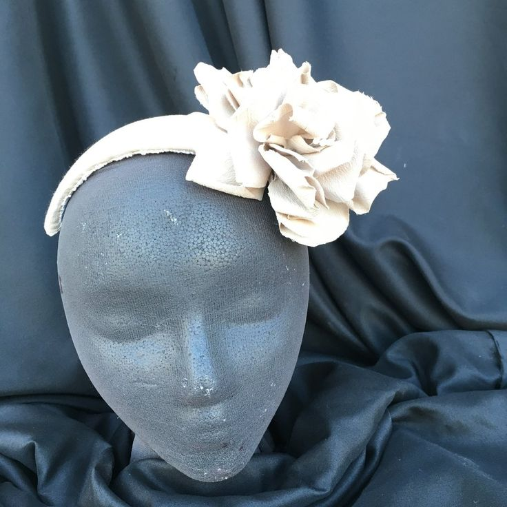 Taupe Floral Headband with Handmade Camellias
