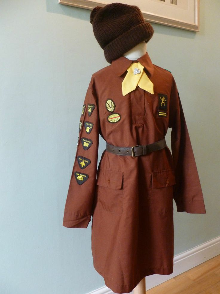 Vintage UK 1970s - 80s BROWNIE Girl Guide UNIFORM + HAT TIE & BELT- ebay  I had this uniform!!! I joined in 1988 when the badges on the right side of the uniform were updated- but the older girls all had this version of the 'venture' and 'roadway' badges. Ah, the nostalgia!