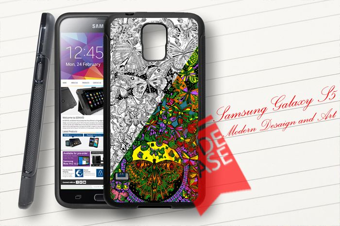 Samsung Galaxy S5 Custom Butterflies Art Rubber Case