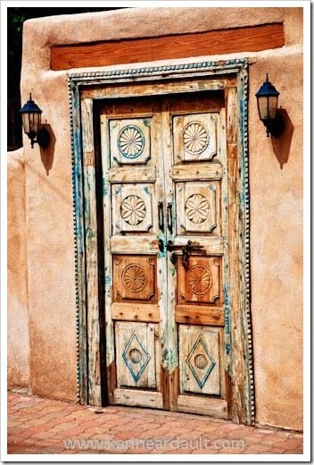 love the adobe and earthy color, wood door: Santa Fe Nm, Doors Window, Fe Doors, Earthy Color, Color Combinations, Decor Doors, Carvings Doors, Mexicans Doors, New Mexico