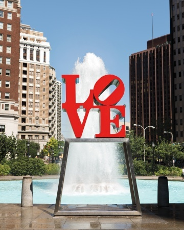 Robert Indiana's LOVE sculpture in downtown Philly...now has special meaning to us