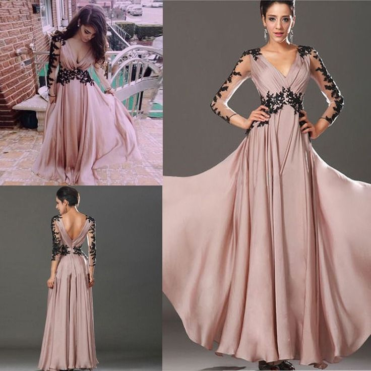 Hot Long Sleeve Lace Chiffon Bridesmaid Formal Gown Party Cocktail Evening Dress in Clothing, Shoes & Accessories, Women's Clothing, Dresses | eBay