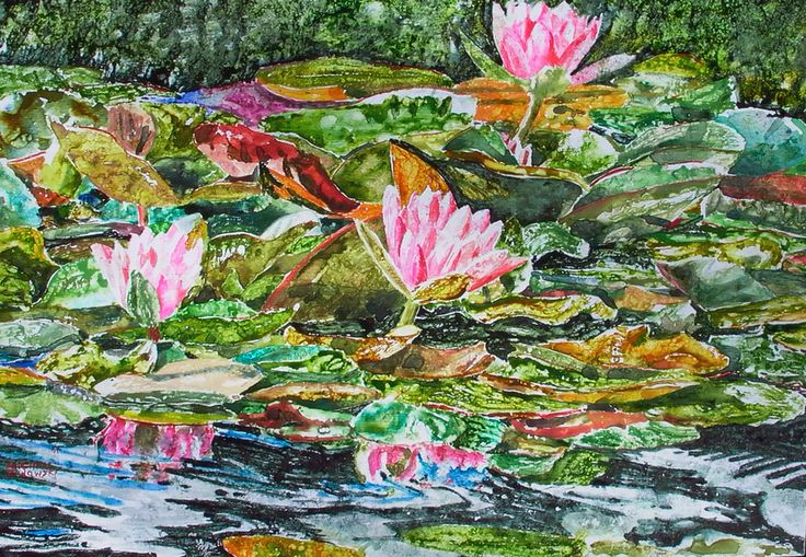 "pink lilies grenada - micheal zarowsky 20"" x 30"" mixed media painted directly on gessoed birch panel"