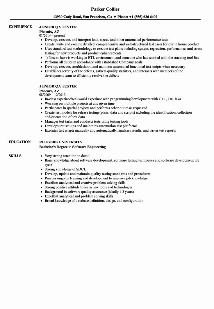 Qa Tester Resume No Experience original Qa Test Engineer