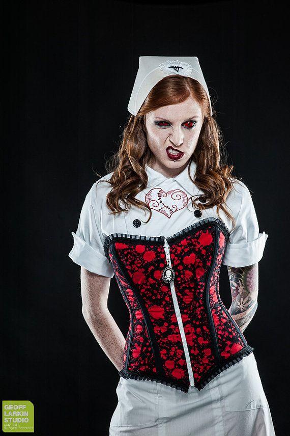 Blood Splatter Corset OOAK by fluffergirl on Etsy