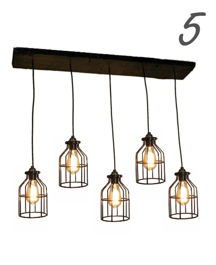 """Industrial Cage Pendant Light Wood Chandelier - Custom made to order - See photos for available options - Wood is 8"""" Wide - option for 35"""" or 47"""" wood length - Choose from 4 cage styles (or contact us"""