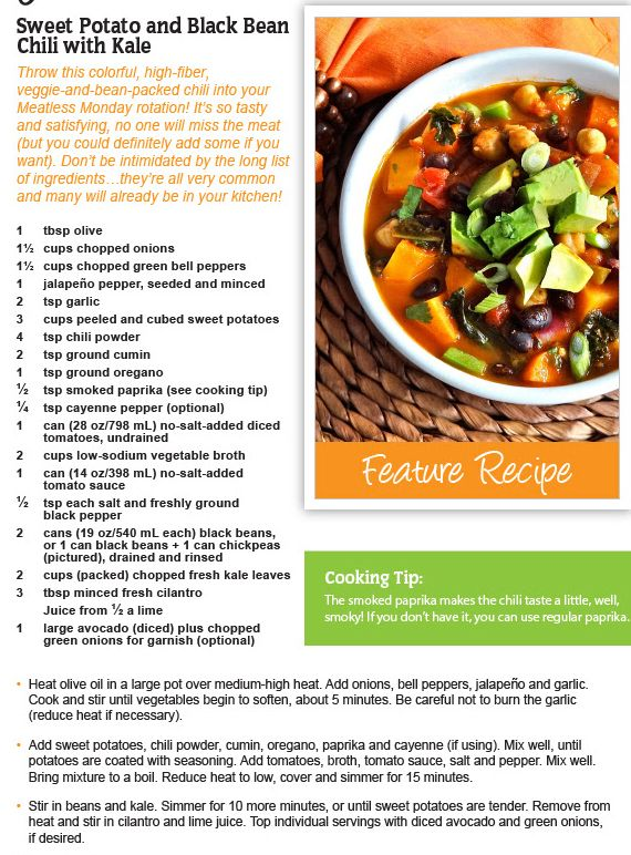 Sweet Potato & Black Bean Chili with Kale - Looney Spoons, Janet and Greta Podleski. Hearty, healthy, yummy!