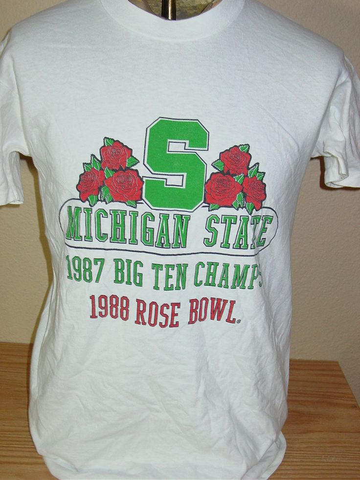 vintage 1988 Michigan State Spartans Rose Bowl football t shirt Large by vintagerhino247 on Etsy