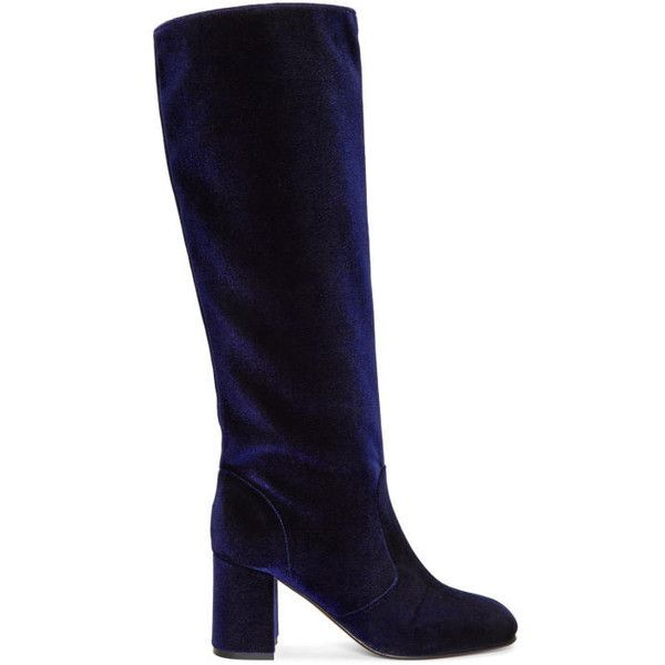 Maryam Nassir Zadeh Navy Velvet Lune Tall Boots (50.765 RUB) ❤ liked on Polyvore featuring shoes, boots, navy, navy tall boots, velvet knee high boots, block heel boots, block heel knee high boots and velvet boots