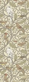 Trustworth Wallpaper> Mob Scene, ca 1929. Owls surrounded by other birds, including cardinals. Meant to be, I think...: Pretty Pattern, Wallcovering, Brown