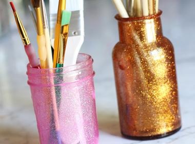 """'How to Make Glitter Mason Jars' from the Lilyshop Blog. Need to do this for my """"good things"""" jar that I'm gonna start making."""