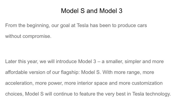 "Email from Tesla reiterates Model S superiority over Model 3: ""more range more acceleration more power more interior space and more customization choices"" #Tesla #Models #car #Automotive #cars #Autos"
