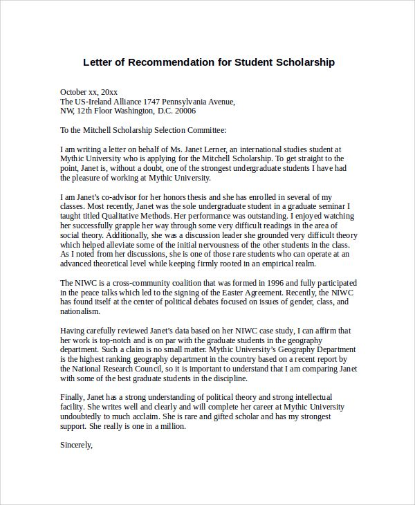 Sample Letter of Recommendation for Scholarship - 29+ Examples in Word, PDF