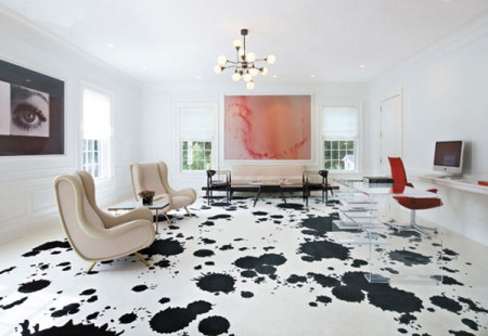 Salón: Floors Patterns, Living Rooms, California Home, Interiors Design, Black White, Floors Design, Concrete Floors, Paintings Floors, Art Rooms