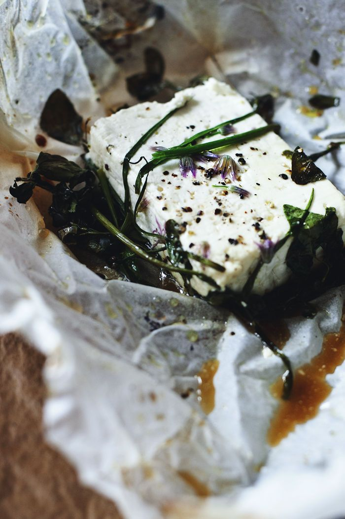grilled feta w/ herbs & honey