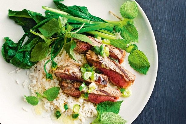 Barbecue steak with wasabi, ginger & shallot dressing main image