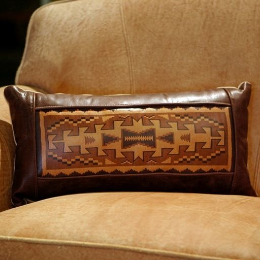 A perfect southwestern compliment, this Navajo Rug Pillow is available at Anteks western and rustic furniture store in Dallas, TX.