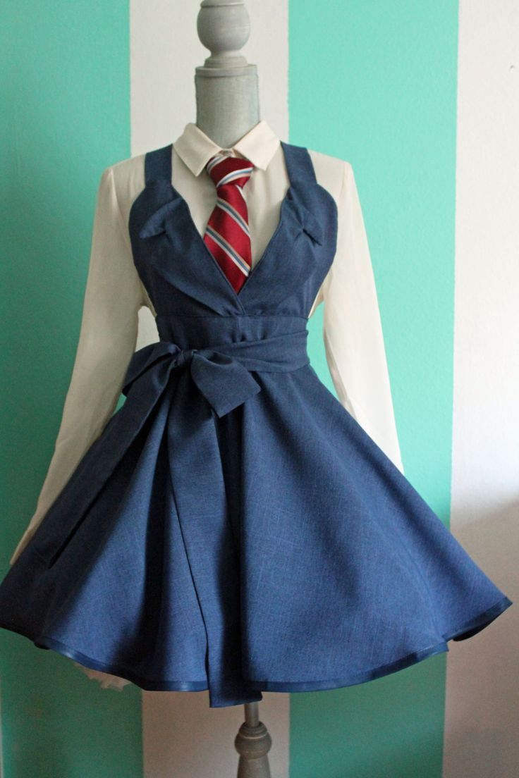 If I wore this without the petticoat, I could probably get away with wearing it to work. :D ----- David Tennant Tenth Doctor Blue Suit Who Cosplay Pinafore Dress Accessory