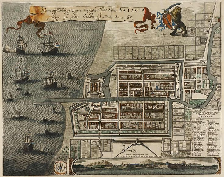 Map of the Castle and the City of Batavia 1681. Indonesia. List of Dutch colonial forts and possessions - Colonial Voyage