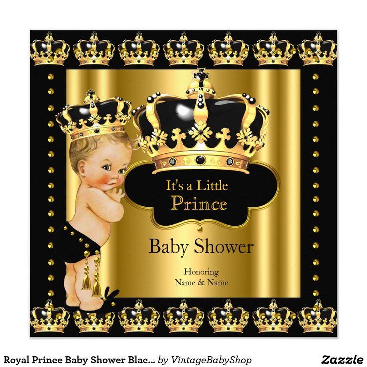 Royal Prince Baby Shower Black Gold Crown Blonde Card