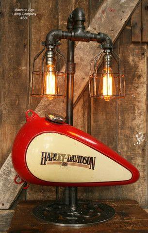 Steampunk Industrial Lamp, Harley Davidson Motorcycle Gas Tank #380