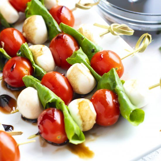 Caprese Skewers With Balsamic Glaze Are An Easy, Festive