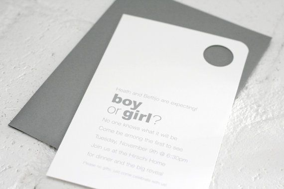 Great baby shower party idea!! Gender Reveal Party Invitations Personalized by pagingsupermom