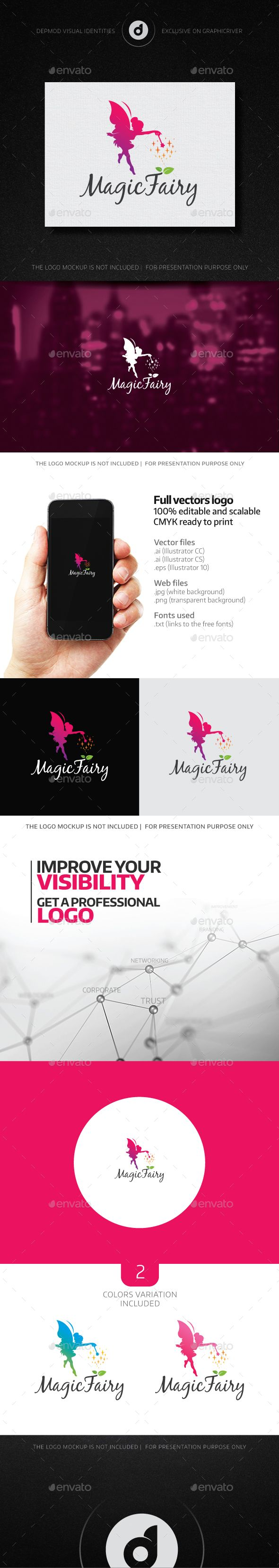 Logotype butterfly and letter b in different colour variants on a - Magic Fairy Logo