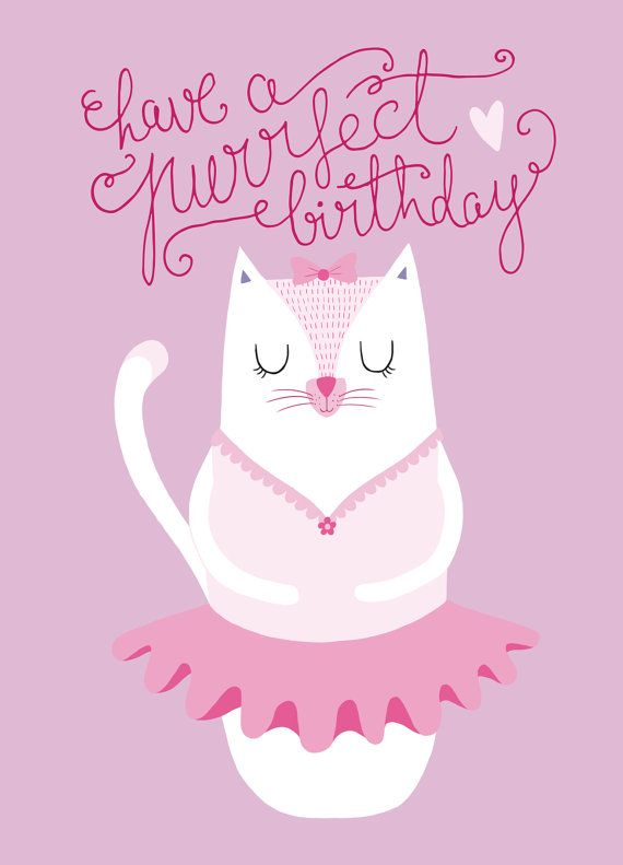 Miss Ballet Cat - Birthday Card on Etsy
